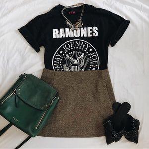 Zara basics brown wool mini skirt (with pockets)